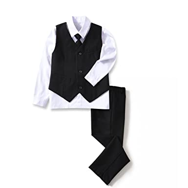 18e12254a1f9 Yuanlu 4 Piece Boys' Formal Suit Set with Black Vest Pants White Dress Shirt  and