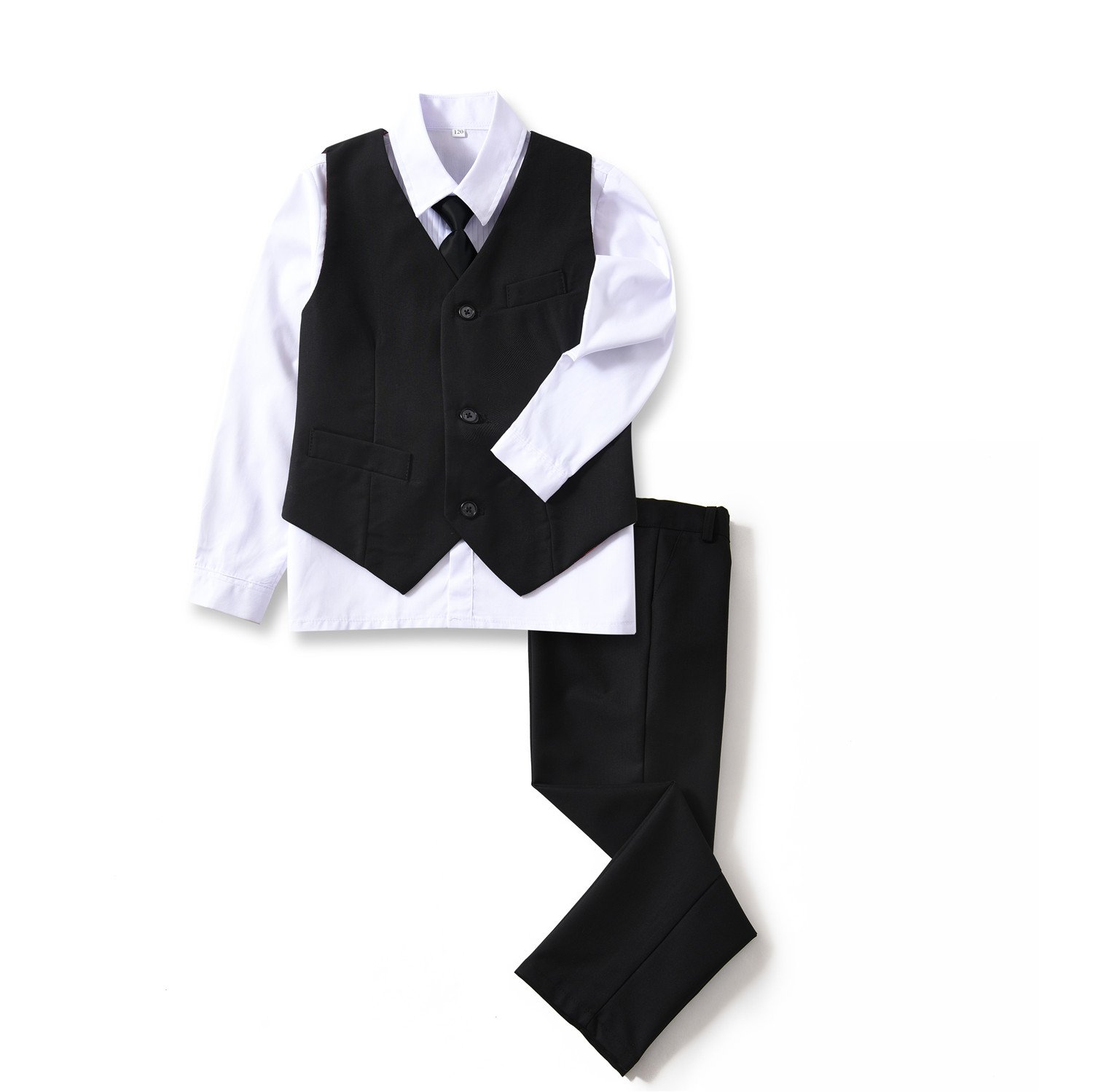 Yuanlu 4 Piece Boys's Formal Suit Set with Black Vest Pants White Dress Shirt and Tie Size 8