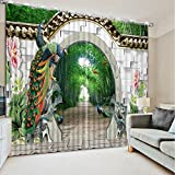 Sproud Top Quality 3D Printing Curtains Lifelike Blackout Cortians Beautiful Full Light Shading Bedroom Livng Room Curtains 260Dropx300Wide(Cm) 2 pieces