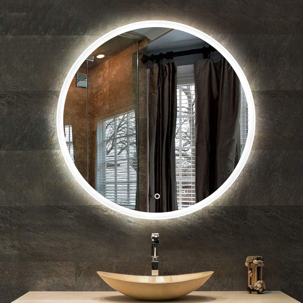 YANZEDIAN Miroir Salle De Bains Mural Miroir Lumineux LED Miroir  Intelligent Éclairage LED Miroir Bassin Vanité Beauté HD Tactile sans Cadre  (Lumière