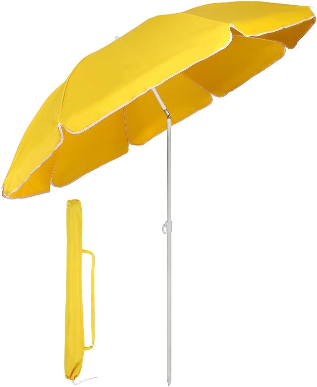 Sekey/® Sombrilla /Ø 160 cm Parasol para terraza jard/ín Playa balc/ón Piscina Patio Protector Solar UV20+ Color Verde