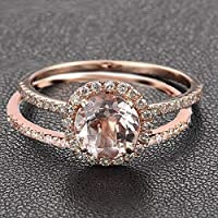 2 Carat Round cut Morganite and Diamond Halo Engagement Wedding Ring Set for Women In Rose Gold