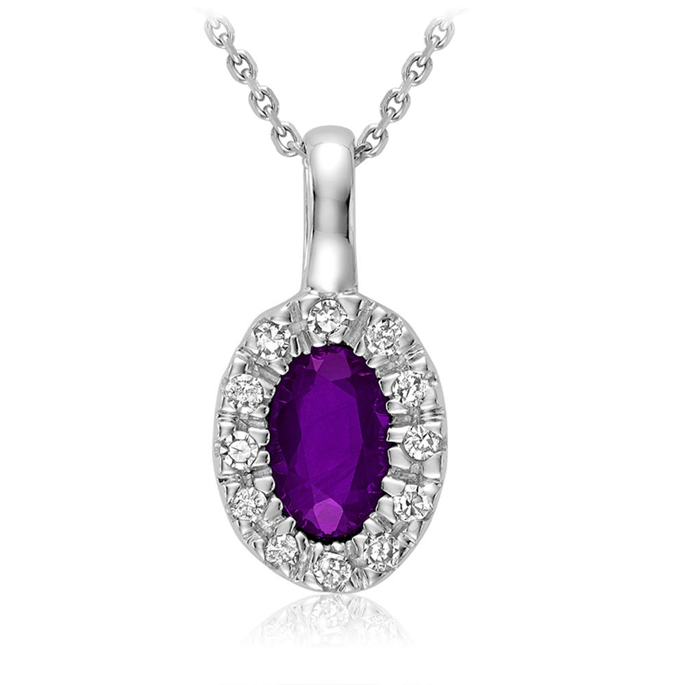 10K Gold Natural Diamond and Amethyst gemstone Pendant (0.04TDW H-I Color,I1 Clarity) 18'' Cable Chain (amethyst)