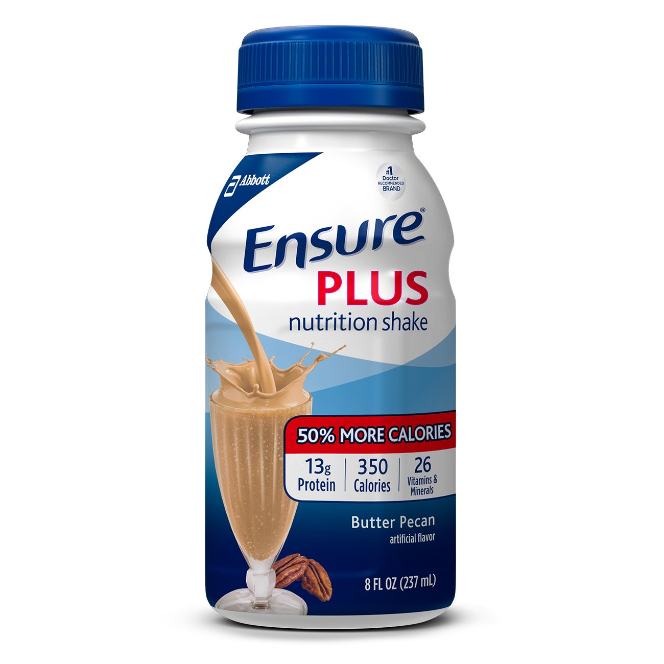 Ensure Plus Nutrition Shake with 13 grams of high-quality protein, Meal Replacement Shakes, Butter Pecan, 8 fl oz, 24 count by Ensure Plus (Image #1)
