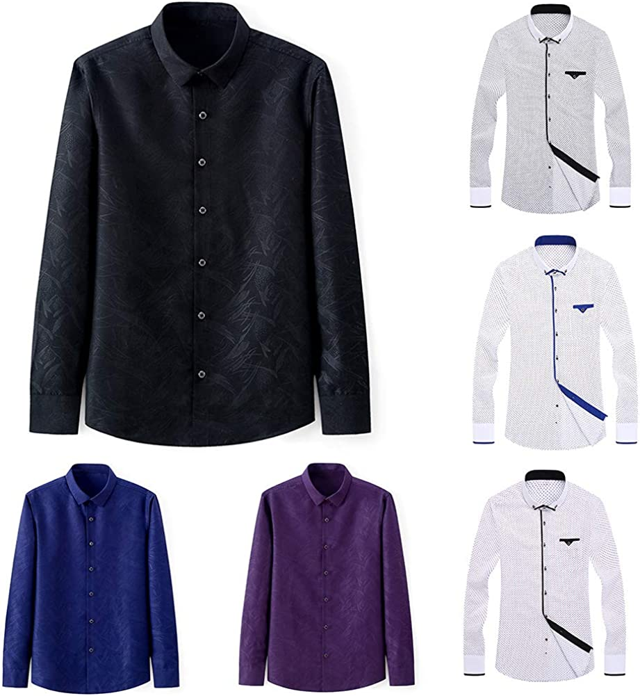 Colorido Slim Fit Long Sleeve Turn Down Collar Plus Size Spring Business All-match Stylish Men Shirt Top