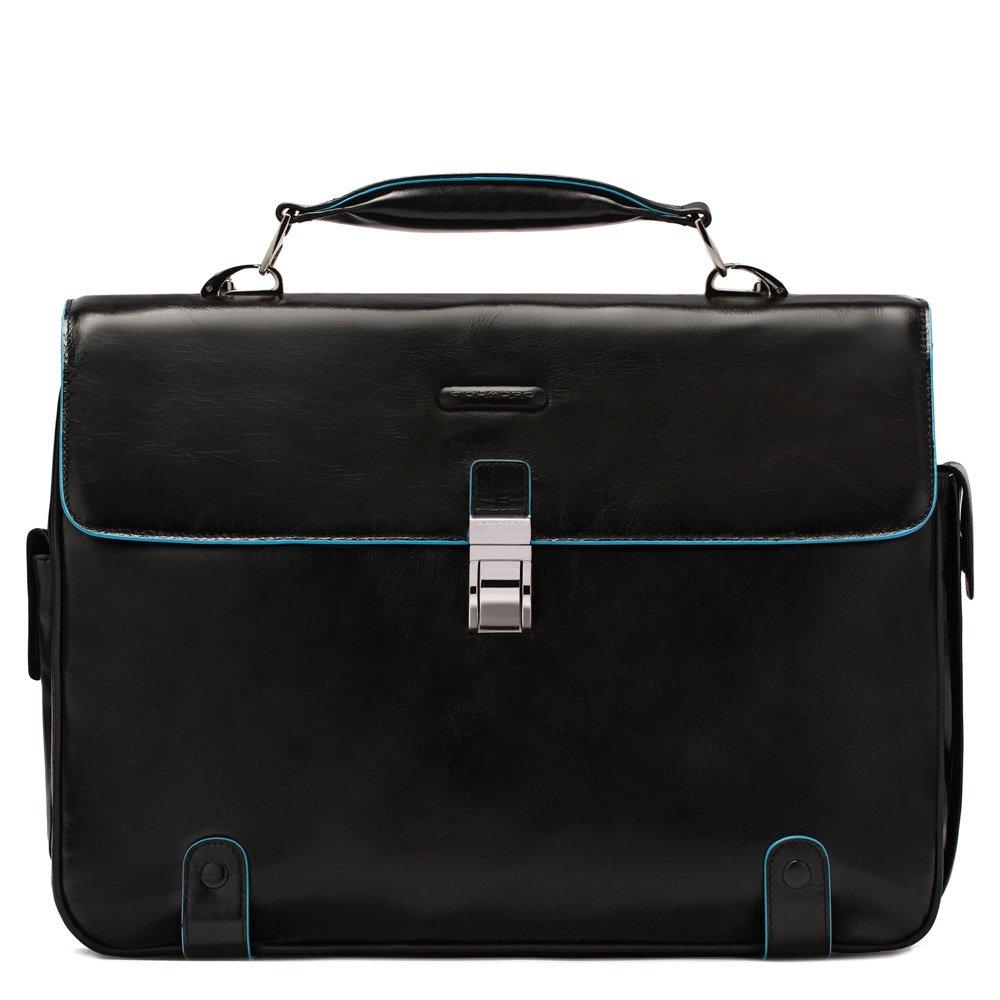 PIQUADRO Bag Blue Square Computer portofolio brief Leather Black - CA1066B2-N   B003Q9AIS6