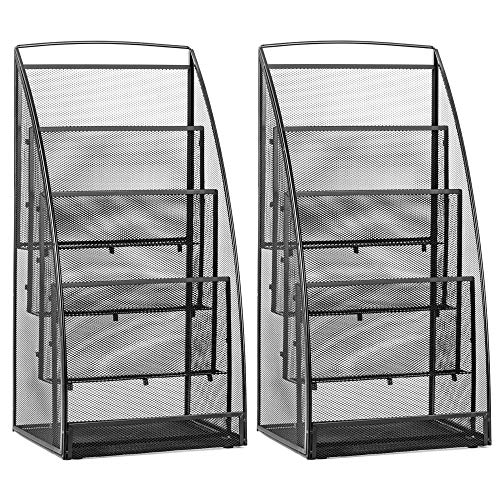 Halter Steel Mesh Magazine Rack/Literature Rack - 4 Pocket - Black - 2 (Office Magazine Rack)
