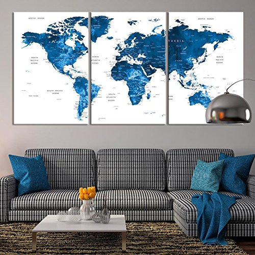 Large Wall Art Push Pin World Map Canvas Print   Extra Large Navy Blue World  Map