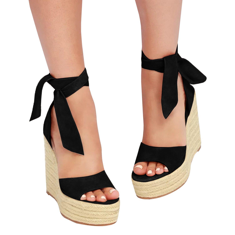 Amazon.com  Fashare Womens Open Toe Tie Lace Up Espadrille Platform Wedges  Sandals Ankle Strap Slingback Dress Shoes  Shoes