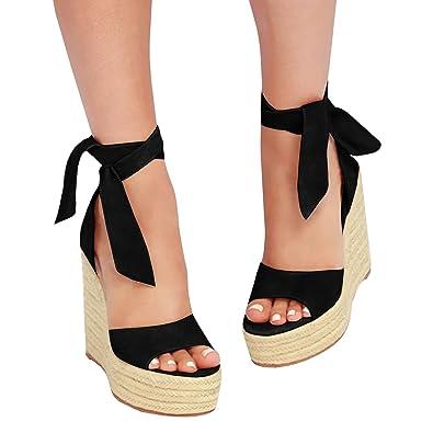 e7506395b89 Fashare Womens Open Toe Tie Lace Up Espadrille Platform Wedges Sandals  Ankle Strap Slingback Dress Shoes