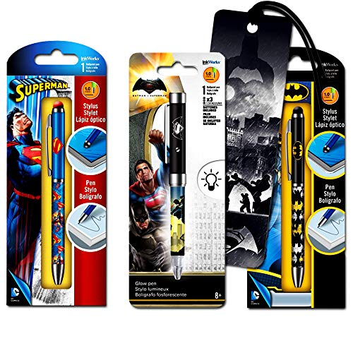 DC Comics Batman and Superman Pen Super Set -- 3 Deluxe Superhero Pens with Bookmark (Batman and Superman Office Supplies, School Supplies)