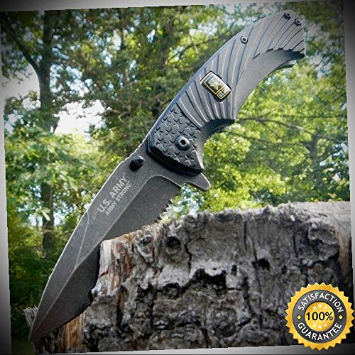 8'' US ARMY LICENSED SPRING ASSISTED FOLDING KNIFE Serrated