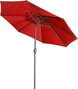 Aok Garden 9 ft Patio Market Umbrella Outdoor Table Umbrella with Push Button Tilt and Crank 8 Ribs for Deck, Backyard, Pool (Red)