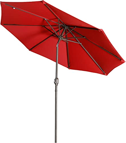 Aok Garden 9Ft Patio Outdoor Umbrella Market Table Fade-Resistant Umbrella with Push Button Tilt and Crank for Garden Backyard Deck,Update Red