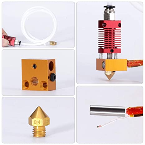 CR-10 Series Hot End 12V40W BZ 3D CR-10 Hotend Assembly 12V 40W MK8 Extruder Original Replacement with Aluminum Heating Block 1.75mm 0.4mm Nozzle for CR10// CR-10S// CR-10S400// CR-10S500