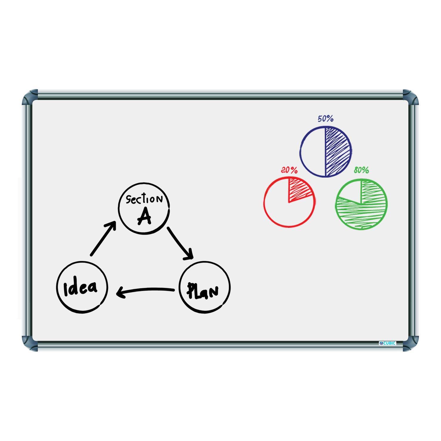 Cubic Non Magnetic Slim 2ft x 3ft White Writing Board