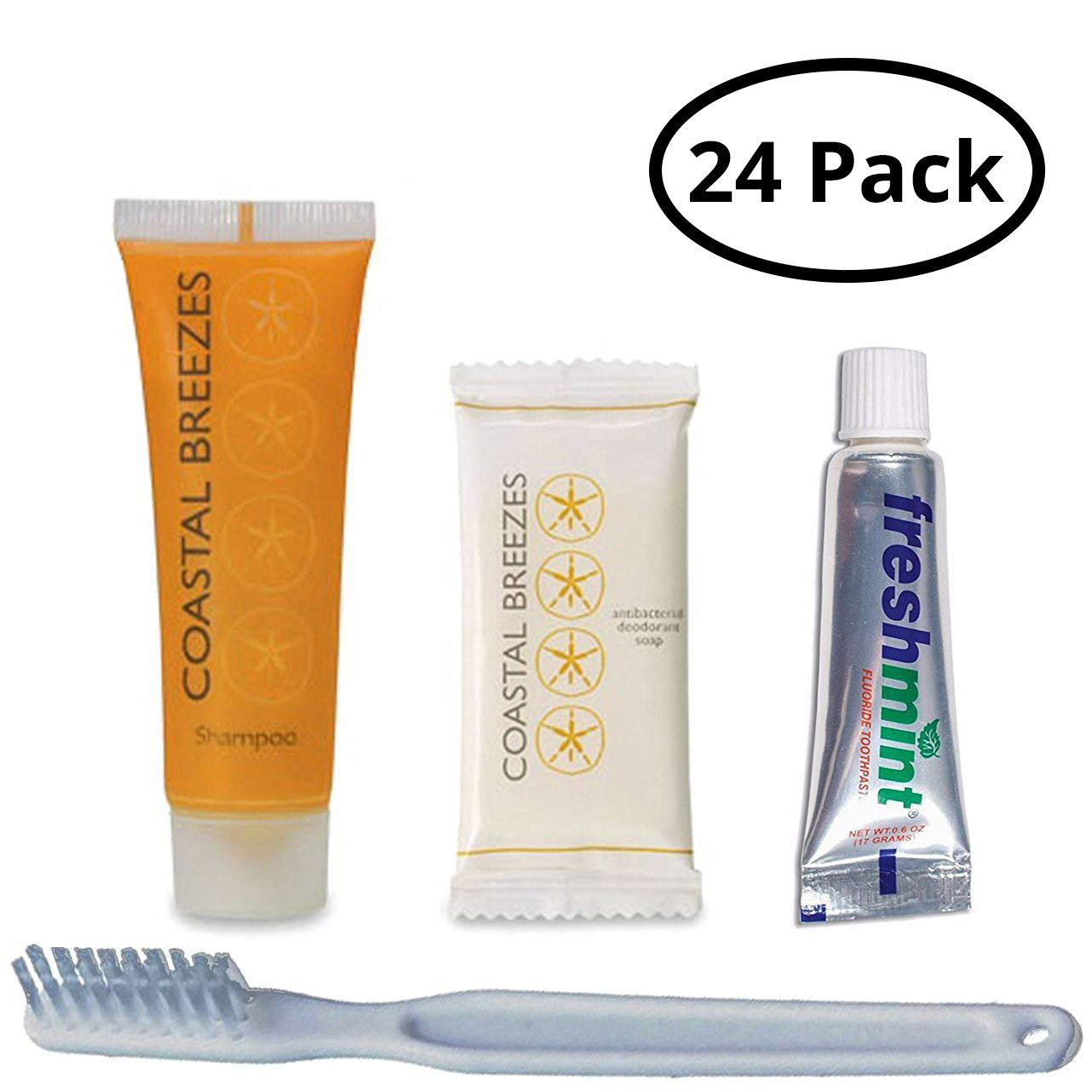 Kind Mind Travel Size Hygiene and Toiletry Kit Bulk Pack 24 Kits|  Soap | Shampoo | Toothbrush| Toothpaste