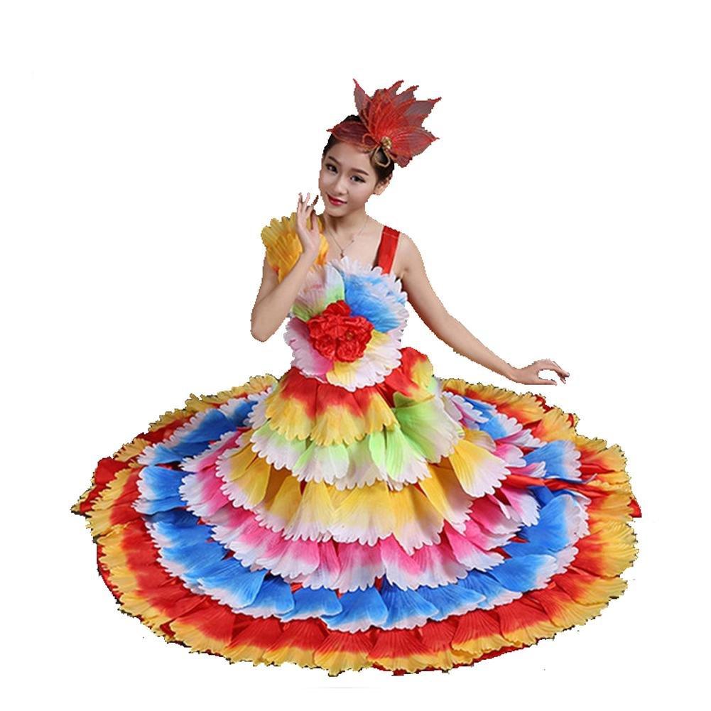 Seven 180 Couleur skirt Wgwioo femmes Flamenco Dress 180 360 540 720 Devert sans Manches Entreprise Affaires Scolaires Fleurs Pétales Jupe Scène Ouverture Danse Robe Perforhommece Chorus XL