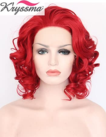 K ryssma Sexy Hot Red Wigs for Women Short Red Wavy Lace Front Wig Soft d96ea4042
