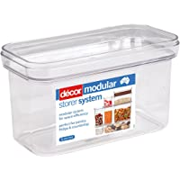 Décor Crystal Clear Stackable, Modular Food Storage Containers, 1.6L, Oblong