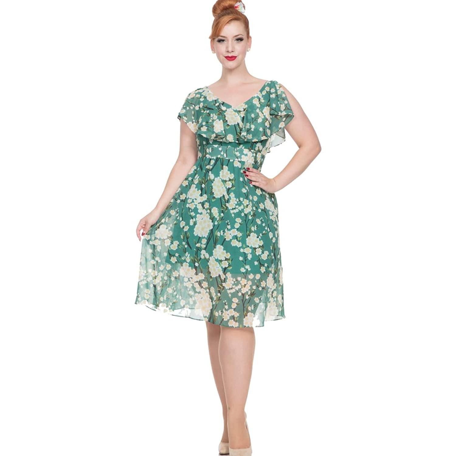 1930s Style Fashion Dresses Voodoo Vixen Agatha Blossom Floral Chiffon Flare Dress Green $62.95 AT vintagedancer.com