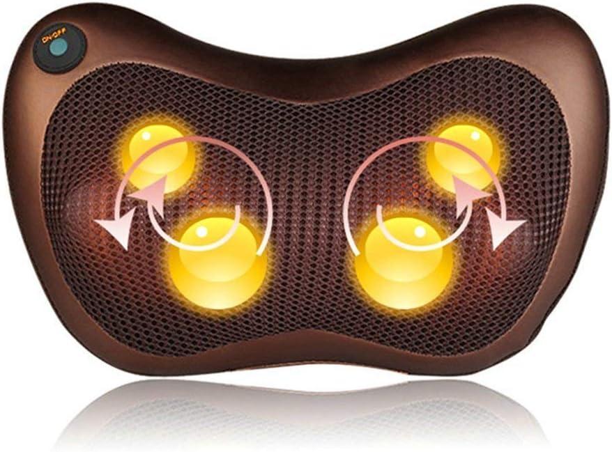 Cojín de masaje Shiatsu Masajeador de cuello con función de calor Cabezales de masaje giratorios en 3D para la espalda Botones de masaje de fisioterapia Oficina en casa, almohada de masaje versátil