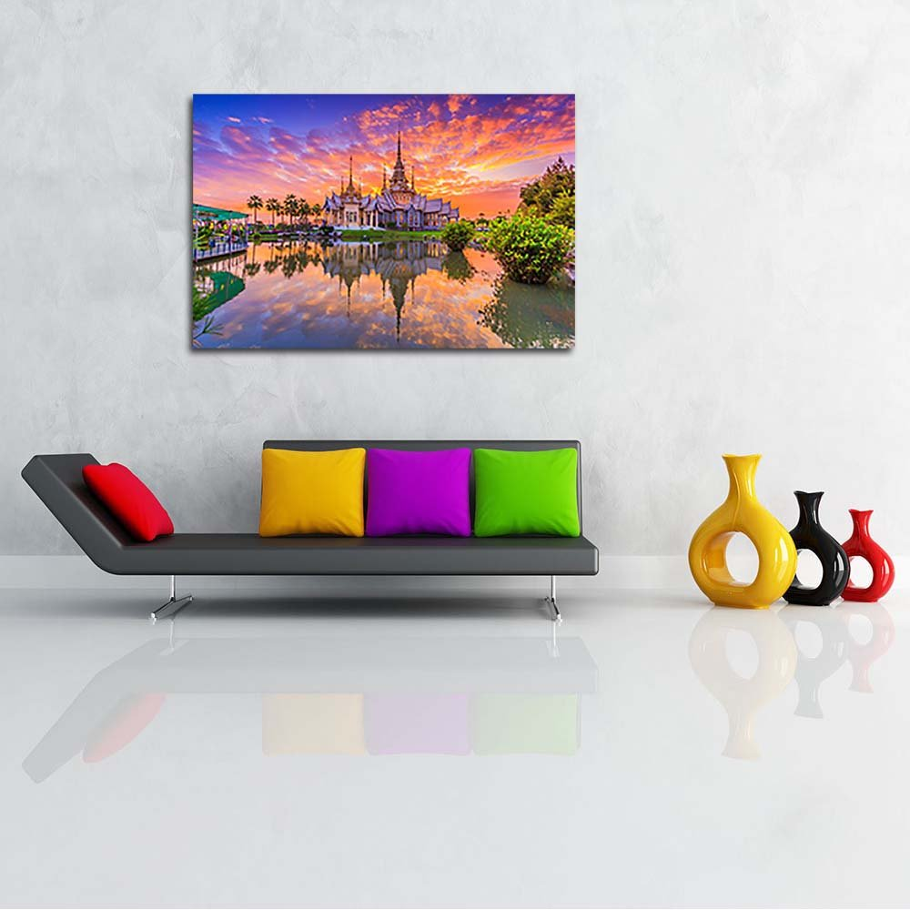 Pitaara Box Wat Thai Sunset In Temple Thailand Unframed Canvas 24inch Painting 36 x 24inch Canvas 27ad66
