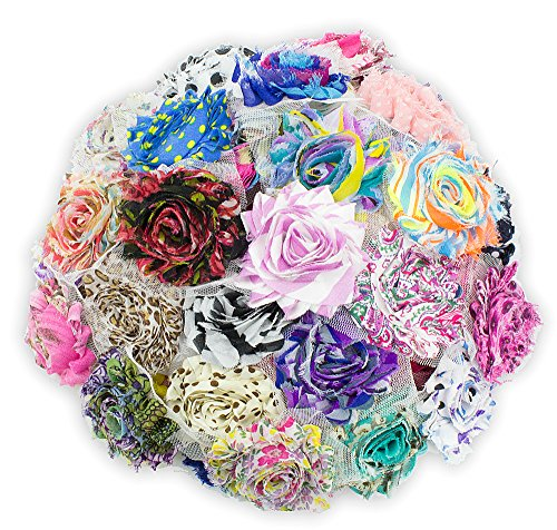 JLIKA (50 pieces) Shabby Flowers - Chiffon Fabric Roses - 2.5 - Prints - Assorted Color Mix - Single Flowers Grab Bag
