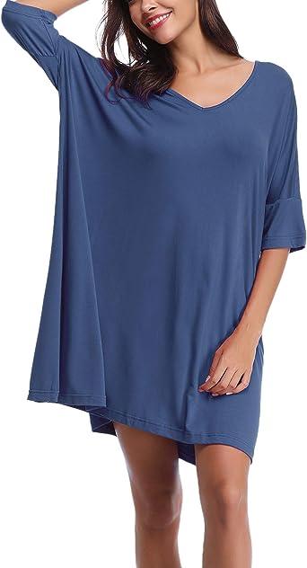 Abollria Camisón Mujer Verano de Algodón Manga Corta Camisónes Vestido Cuello en V Camisones Loungewear: Amazon.es: Ropa y accesorios