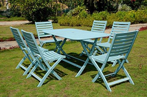 International Caravan RE-54-FC-126-6CH-SKB-IC Furniture Piece Salerno Acacia Wood Seven Dining Group