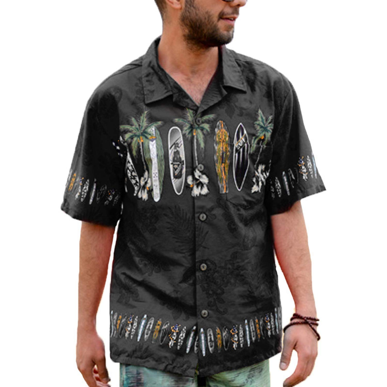 Fashion Shirt Dress Tropical Hawaiian Tops Chic Summer Mens Shirts Printed Floral Short Sleeve Lapel Loose Button Black-XXXL