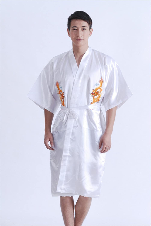 Jtc Mens Robe Dragon Bathrobe Kimono Sleepwear Pajama Gown White