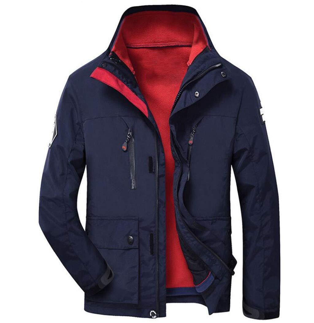 JBHURF Herren DREI-in-one-Zweiteilige Jacke Herbst und Winter Outdoor Große Größe Kapuzenjacke Reisen Warm Coat Windbreaker rot (Farbe   SCHWARZ, größe   XL)
