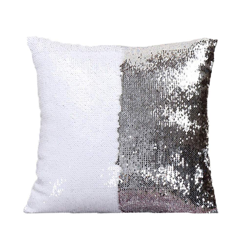 Homelavafans Mermaid Sequins Pillow Cases Cushion Covers Two-color Change DIY Sequins Cushion Inverted Flip Sequin Pillow 40x40cm (Black+Silver)