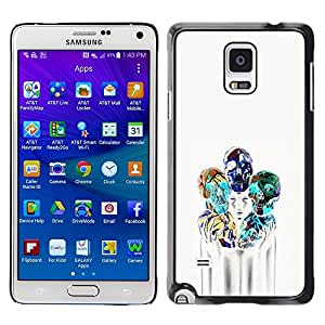 A-type Colorful Printed Hard Protective Back Case Cover Shell Skin for Samsung Galaxy Note 4 IV / SM-N910F / SM-N910K / SM-N910C / SM-N910W8 / SM-N910U / SM-N910G ( Girl Poster Skull Blue White Death )