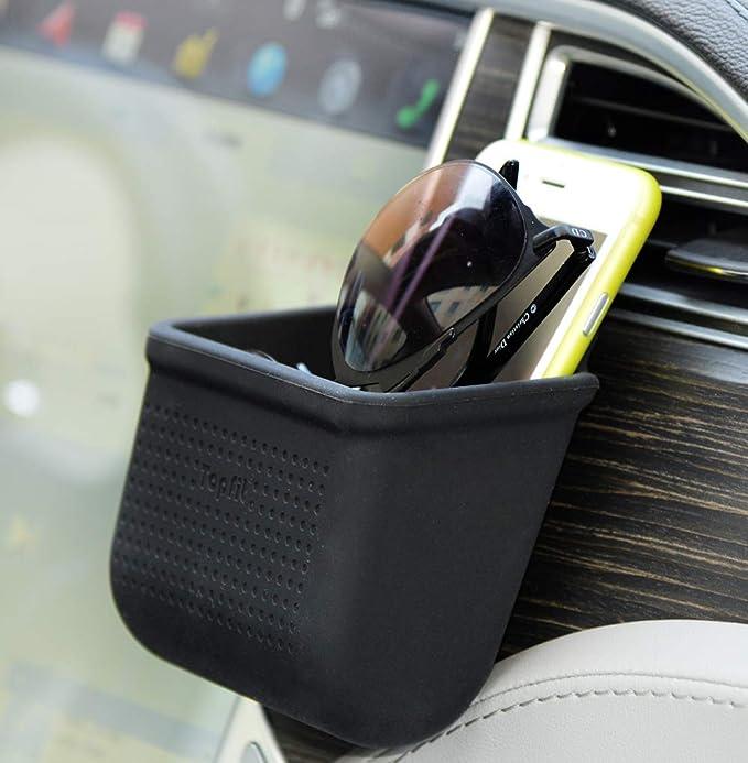 Kfz Halterung Für Die Lüftungsschlitze Handyhalterung Organizer Autohalterung Für Münzen Schlüssel Sonnenbrille Organizer Mit Haken Schwarz Elektronik