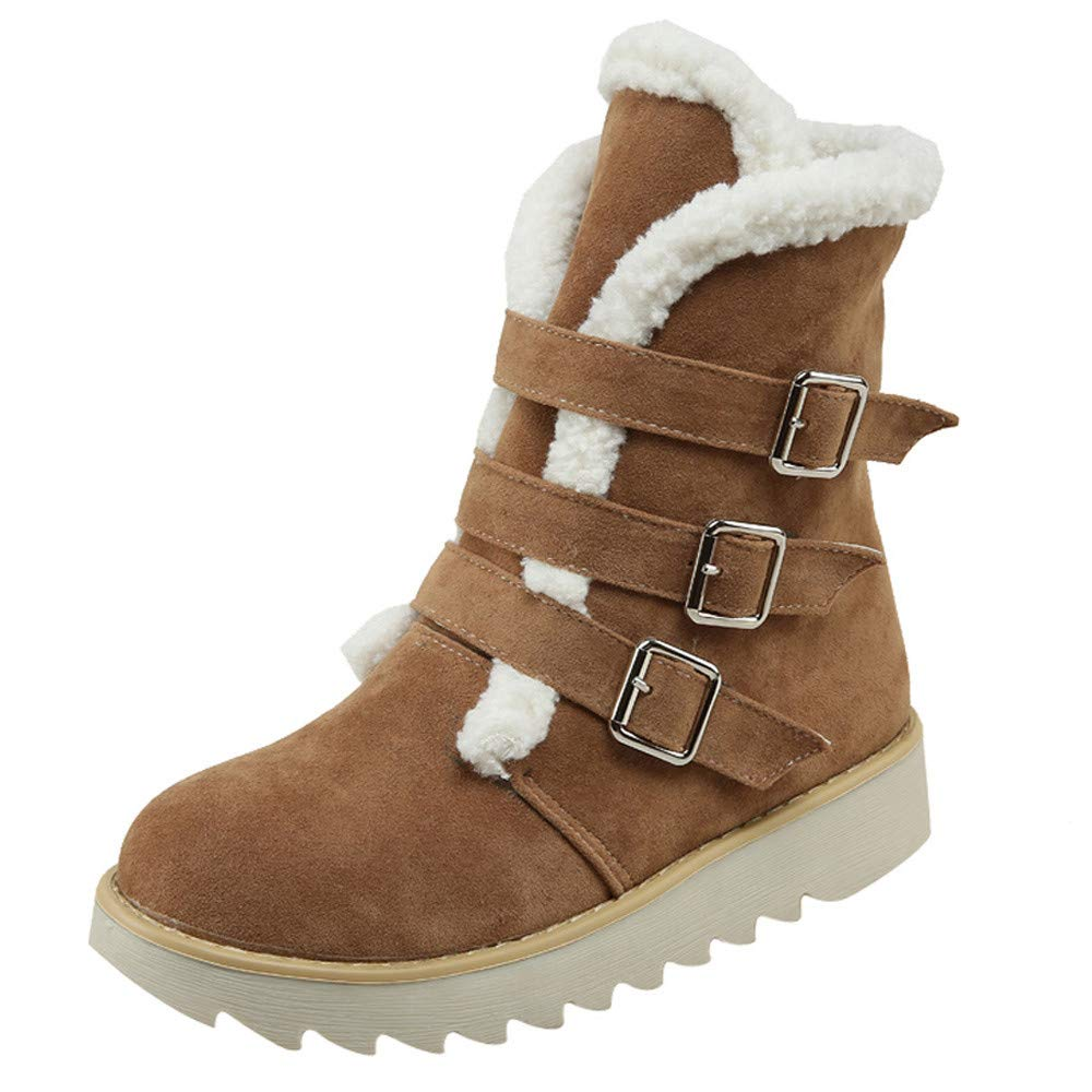 Brown 5.5 Hunzed Women shoes Christmas Buckle with Cotton Round Head Suede Snow Boots Female Short Boots