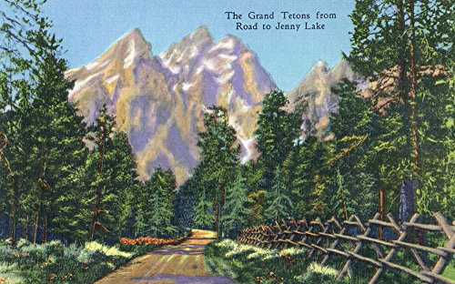 Grand Teton National Park, Wyoming - Road to Jenny Lake View of the Grand Tetons (24x36 SIGNED Print Master Giclee Print w/ Certificate of Authenticity - Wall Decor Travel - Jenny Grand Lake
