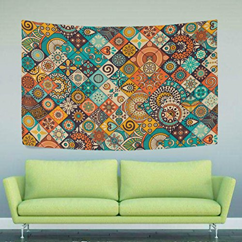 WIHVE Vintage Marble Mexican Ceramic Tile Medallion New Stylish Pattern Wall Hanging Tapestry for Bedroom Living Room Dorm Accessories Wall Nature Art Home Decor in 60 x 40 Inches Iron Ceiling Medallions