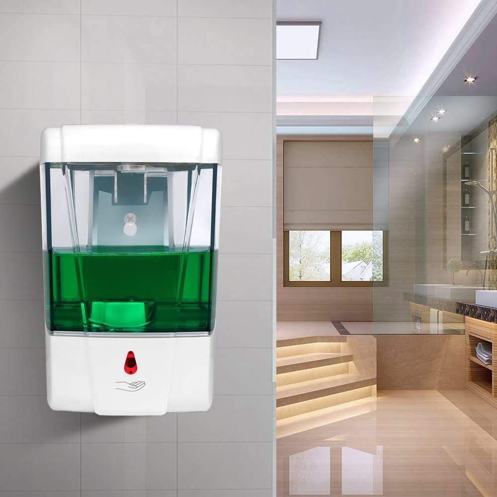 JE Touchless Wall-Mounted Automatic Induction Soap Dispenser, Automatic Induction Sterilization,600 ml Large Capacity for Hotel, Office, School, Kitchen, Beauty Agency, Shopping mall (white/600ml)