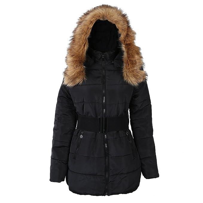 SODIAL (R) Mujer acolchada de invierno chaqueta de abrigo chaquetas con cuello de piel caliente Negro - L: Amazon.es: Ropa y accesorios