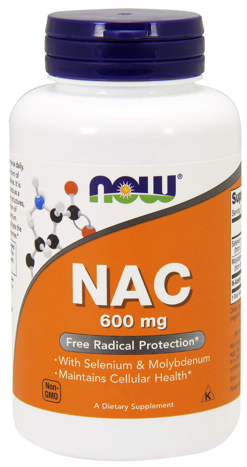 Now NAC 600 mg, 400 Veg Capsules - N-Acetyl-Cysteine Enhanced with Selenium & Molybdenum