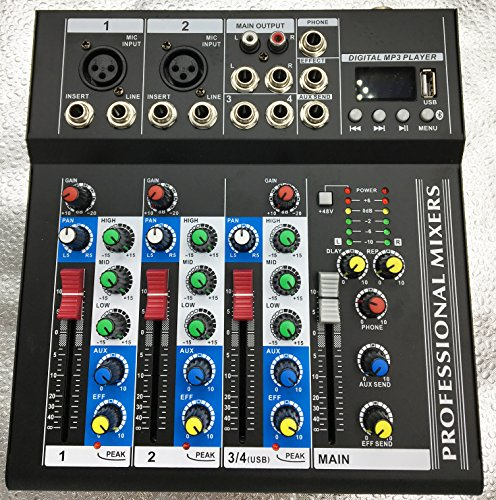 4 Channel Professional Karaoke - Weymic Professional Mixer | 4-Channel 2-Bus Mixer with USB Input 48V Phantom Power for Recording DJ Stage Karaoke Music Application With Bluetooth (F4-Bluetooth)