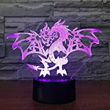 USB Powered Decorative Fire Dragon 3D Remote Control Optical ILLusion Night Light 7 Colors Changing Table Desk Beside Lamp Decorative Nightlight Portable Sleeping Light