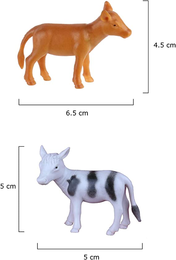 Hand Painted Glazed Porcelain Animal Figurine w Embossed Pastel Color Squiggles Cow Long Neck Cat Sheep Farm Animals Nursery Decor Baby Room