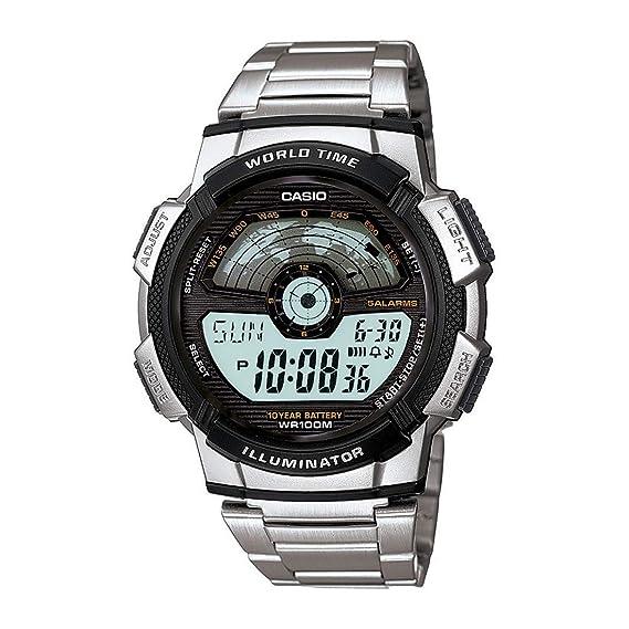 Casio AE-1100WD-1A - Reloj Digital de Cuarzo para Hombre, Correa de Acero Inoxidable Color Metalizado: Amazon.es: Relojes
