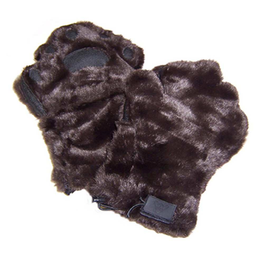 BearHands Sumptuous Faux Fur Mittens - open handy flap when fingers are needed!