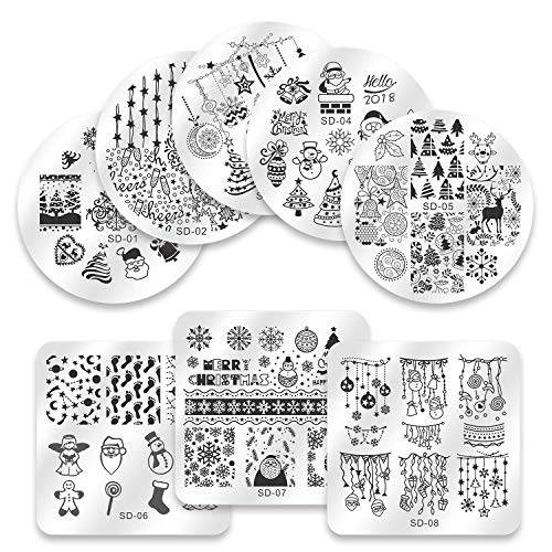 Biutee Nail Stamping Plates 8pcs Templates with Double-head stamper Nail Art Plates set