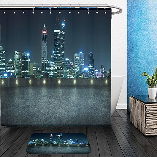 Beshowereb Bath Suit: ShowerCurtian & Doormat empty asphalt roof top with modern city skyline night scene perth australia - Perth Versace