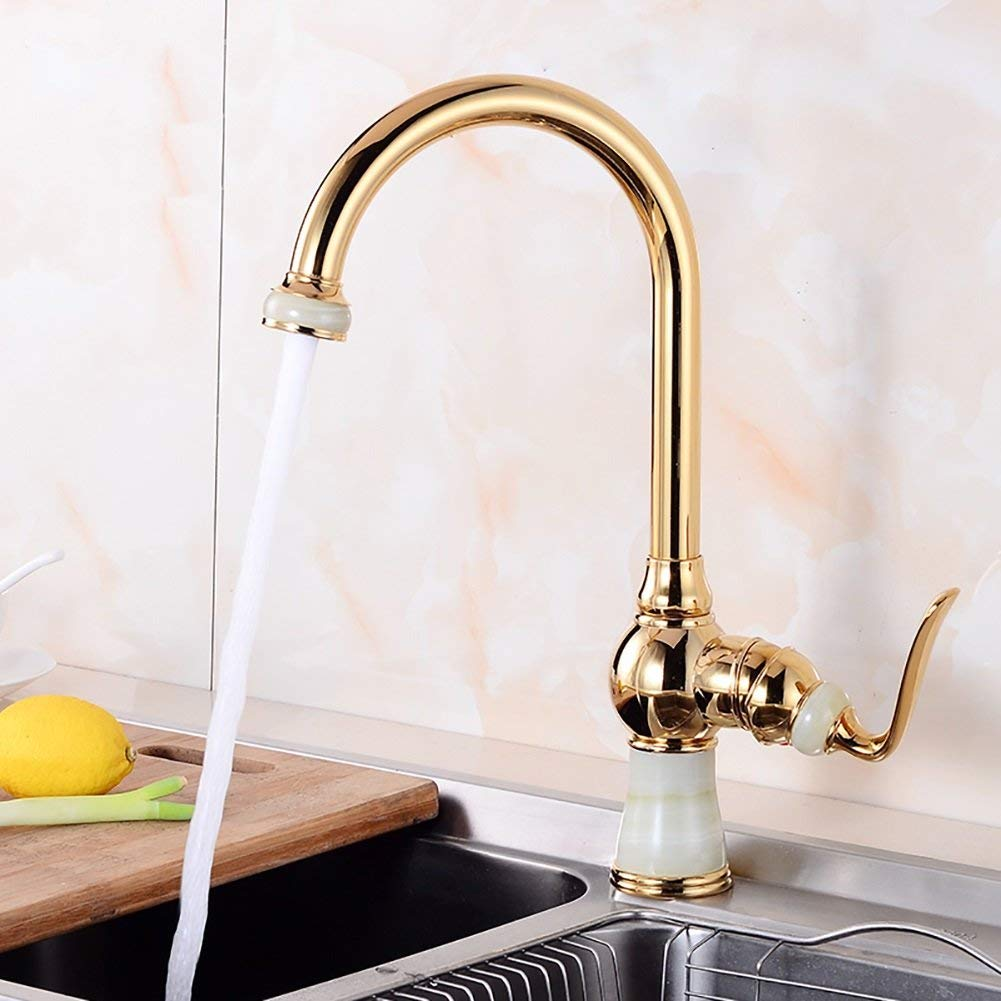 C JZX golden White Jade Waterfall Hot and Cold Water Faucet, Single Hole Single Basin Washbasin Jade Faucet,A,
